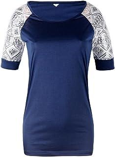 NMY Camiseta de Mujer de Verano Cuello Redondo Camiseta Hueca de Moda Tops de Manga Corta