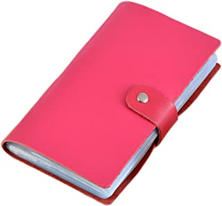 Boshiho Leather Credit Card Holder Business Card Case Book Style 90 Count Name ID Card Holder Book (Hot Pink)