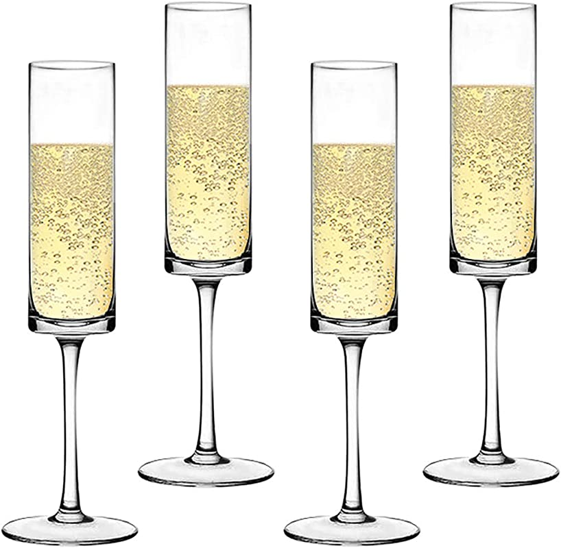 Premium Crystal Champagne Flute Glasses Elegantly Designed Hand Blown Champagne Glasses Lead Free Set Of 4
