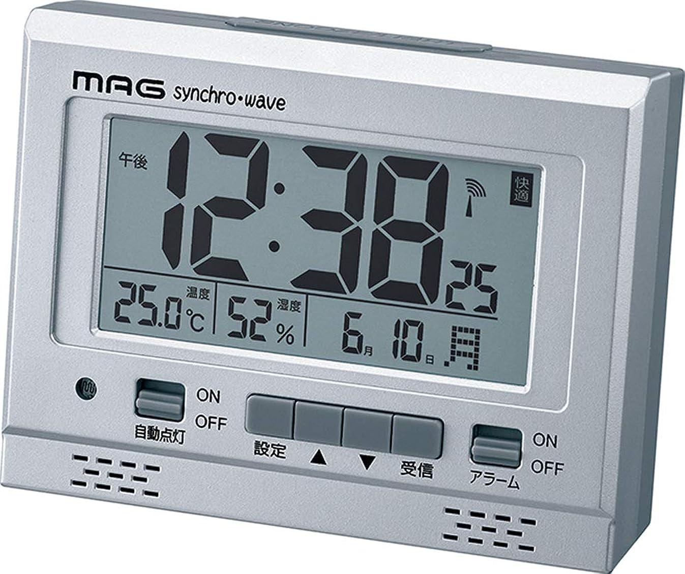 日付刈るオートMAG(マグ) 目覚まし時計 電波 デジタル エアサーチグッドライト 環境目安 温度 湿度 カレンダー表示 シルバー T-694SM-Z