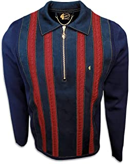 Mens 70s Retro Stripe Quarter Zip Knit Polo