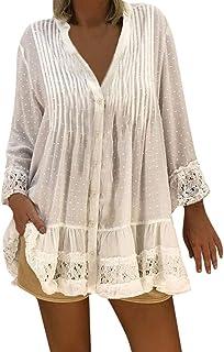 Blusas para Mujer Elegantes Tallas Grandes Cuello En V Caftán Boho Cubierta de Playa Vendimia Hippie Holgado Camisetas Mujer Verano Tops Mujer Sexy Holatee