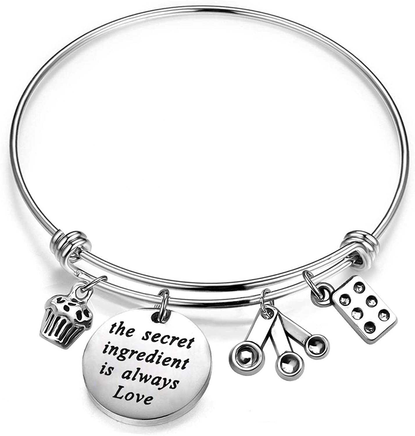 Gzrlyf Baker Bracelet The Secret Ingredient is Always Love Inspirational Gifts for Baker Pastry Chef Culinary Students