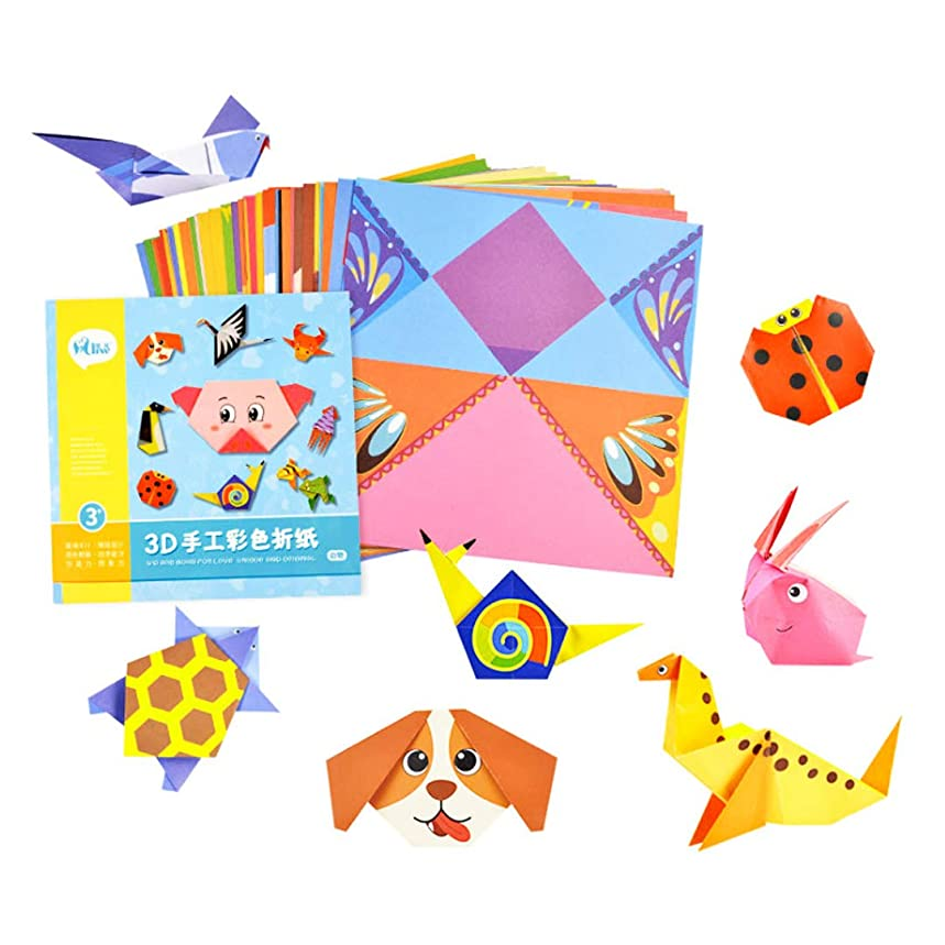 Radish Stars Kids 3D Colorful Creative Origami Paper Animal Life Origami Folding Paper for 3~10 ago Children - 54 Origami Papers & 1 Guide Book