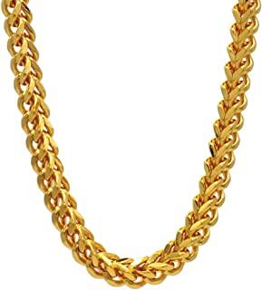 TUOKAY 18K Gold Franco Chain Necklace for Man, 24 inch 6mm Fake Gold Rapper Chain, 90s Punk Style School Rapper Kit Costume Accessory Hip Hop Necklace Costume Jewelry