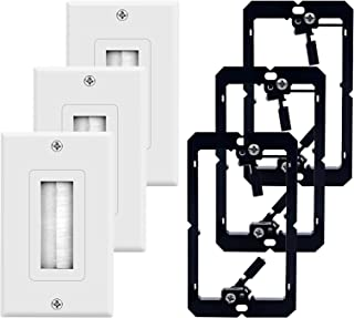 3-Pack Brush Wall Plate with Mounting Bracket, ZEXMTE Single Gang Low Voltage Wall Plate Cable Pass Through for Speaker Wi...