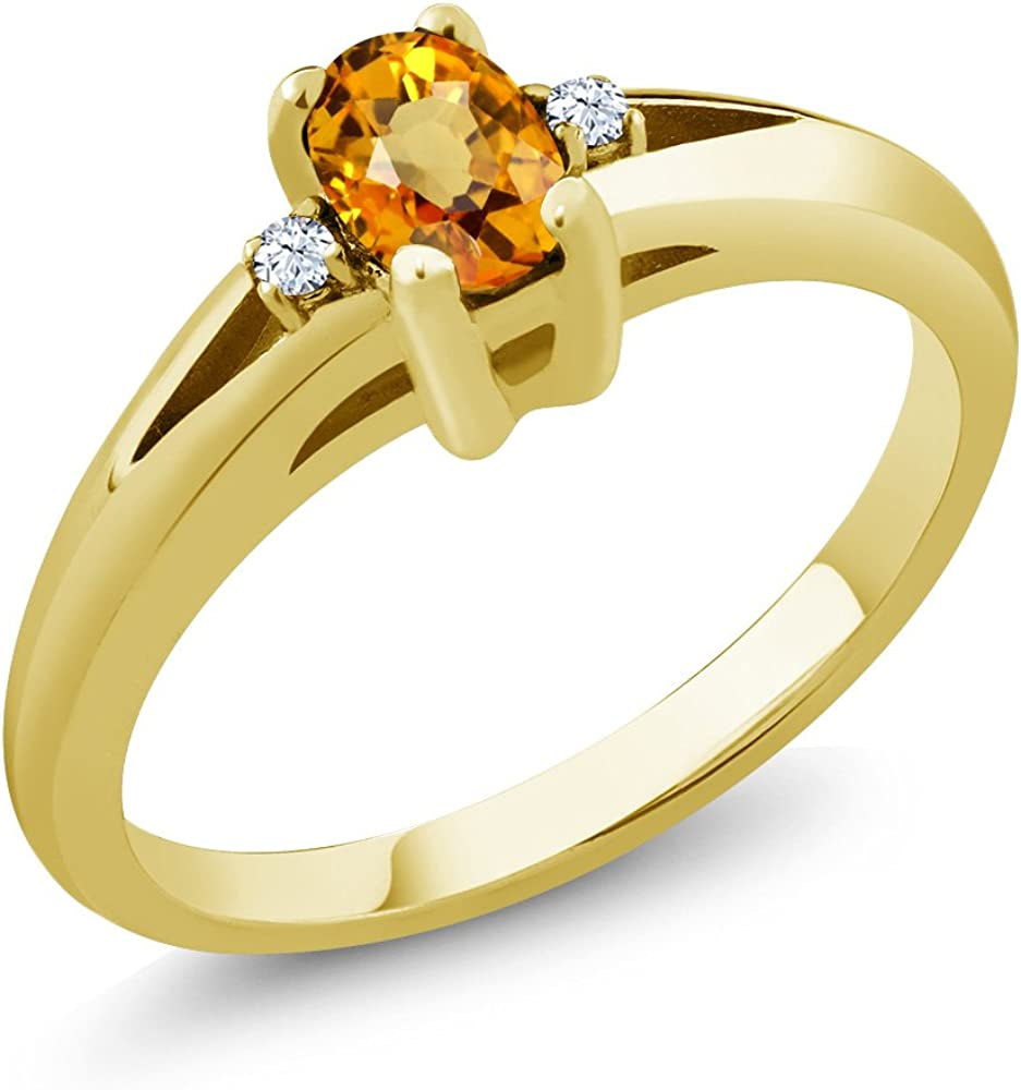 Gem Stone King 0.59 Ct Oval Los Angeles Mall Max 40% OFF Yellow 18K Sapphire Topaz White Yell