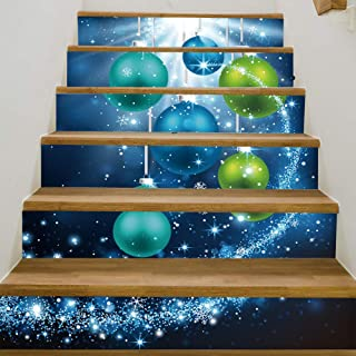 zhiyu&art decor Christmas 3D Stair Stickers Decals-6Pcs/Set Christmas Beads Stair Risers Stickers Decals Removable Staircase Decals Waterproof Stair Mural Wallpaper for Christmas Decoration
