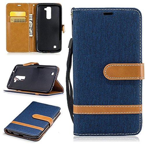 LG K10 Funda / K420N Funda,[FQY-TEC][Azul oscuro]D[Cuero sintético]y[TPU]Cartera,Ranura para tarjetas,Soporte Funda para LG K10(2016)(5.3