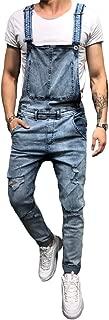 Men's Denim Bib Overalls Fashion Ripped Jeans Slim Jumpsuit with Pockets