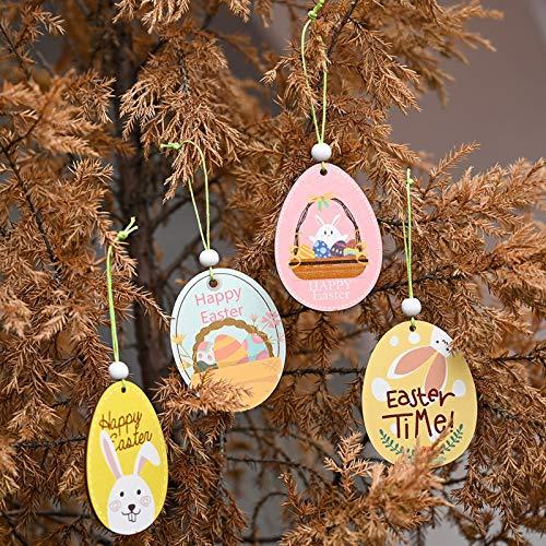 Janly Clearance Sale 8 etiquetas de madera de Pascua, diseño de conejo, gallina, huevos para colgar, decoración del hogar, jardín, para fiestas, festival, pared o ventana, bonito regalo, 7,5 x 6 cm