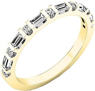 0.33 Carat (ctw) 14K Gold Round & Baguette Diamond Ladies Anniversary Wedding Band 1/3 CT