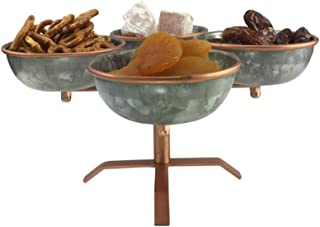 Galrose APPETIZER DISHES CONDIMENT BOWLS - 4 Galvanized Iron Entertaining SERVING DISHES on Stand CHIP and DIP SERVING SET for Parties SNACK BOWLS CANDY DISH 6th Wedding Anniversary Gifts for Her