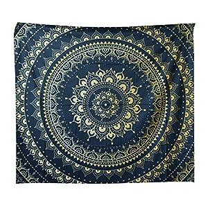 Yzakka Psychedelic Tapestry Mandala Hippie Bohemian Wall Hanging Living Room Bedroom Dorm Decor 59x51Inch