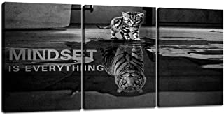 3 Panels Mindset is Everything Motivational Canvas Wall Art Inspirational Entrepreneur Quotes Poster Print Artwork Paintin...