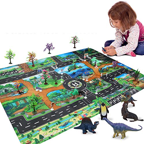 Colmanda Dinosauro Giocattolo Set, 54 Pz Realistico Dinosauri Modello con Scatola Contenitore Dinosauro Jurassic Mondo Giocattoli per Bambini Toddler Education