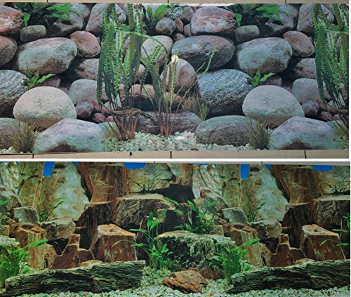 New Aquarium Background Decoration 48' x 18.5' 2 Sided Rocky Aquarium