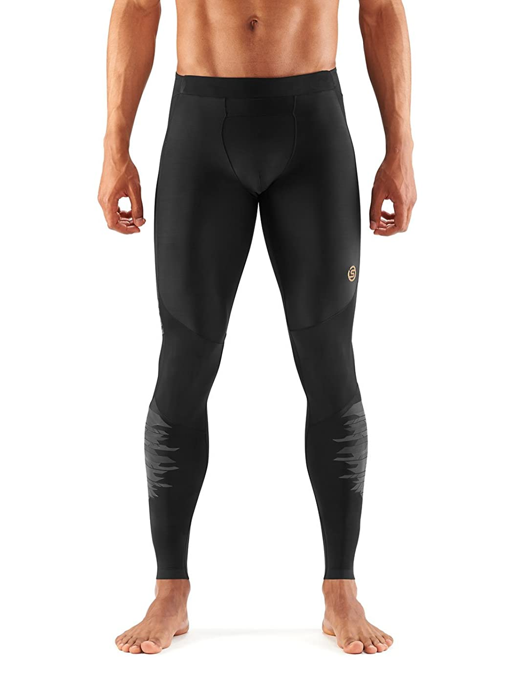 Skins Men's A400 Compression Long Tights, Black/Yellow Logo Line, Small