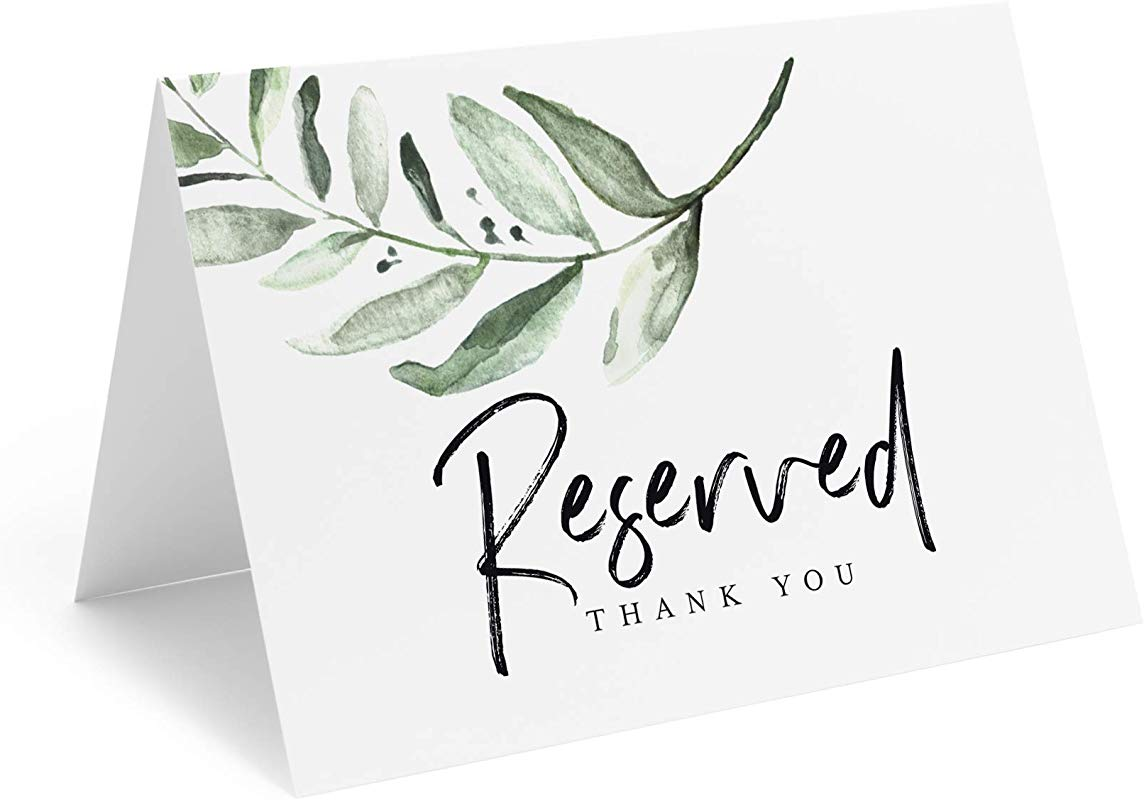 Bliss Collections Greenery Reserved Signs For Wedding 4x6 Reserved Table Cards Table Setting Cards 10 Pack