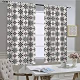 hengshu Traditional House Decor Insulated Light Blocking Curtain Retro Boho Welsh Pears with Persian Pickles Motif Artsy Home Decorvalancefor Windows Brown BlueW54 x L108 Inch per Panel