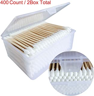 Keepeeda Wooden Stick Cotton Swabs/(200CTx2) - Double Tipped With Finest Quality Cotton Heads- Sturdy Handle - Multipurpose, Safe, Highly Absorbent