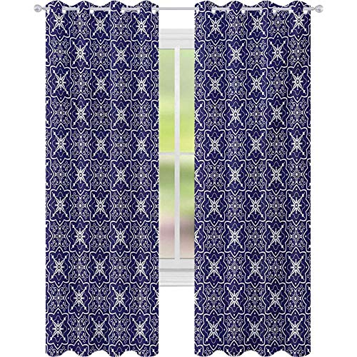 cortinas de dormitorio, Adornado Floral Arreglo con remolinos y curvas Monocromo Azulejo Ilustración, W52 x L63 Cortinas para dormitorio, Blanco Índigo