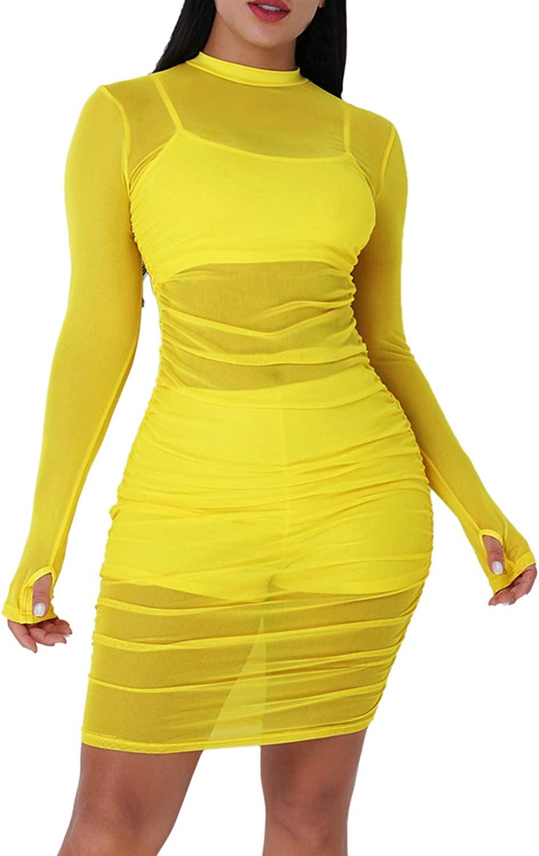 Women Sexy See Through Mesh Dress Long Sleeve Midi Bodycon Party Club Dress Suit