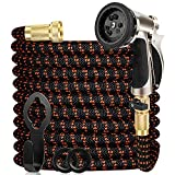 WGCC Expandable Garden Hose, 50ft-100ft Heavy Duty [4 Layers Latex] Flexible Water Hose with 9 Function Durable Alloy Sprayer Nozzle - No Kink Gardening Hose with 3/4' Solid Brass Fittings (Orange)