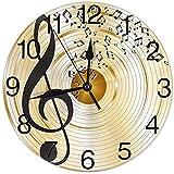 Notas Musicales y Clave de Sol Reloj de Pared Redondo Silencioso Sin tictac Reloj Decorativo para el hogar Arte