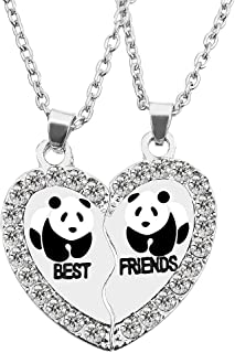 BFF Necklace for 2, Best Friend Necklaces, Split Panda, Dolphin, Penguin Valentine Heart Rhinestone Friendship Necklaces Engraved Pendant
