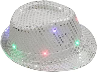 Tinksky Glitter Sequins Hat Unisex Flashing LED Hat Jazz Hats for Men Women Party Costume