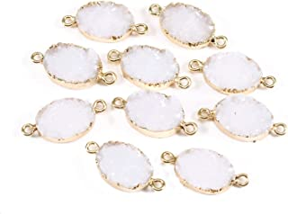 Forise 10pcs New Fashion Faux Druzy Quartz Jewelry Connector Oval Resin Stone Fit for Charms Jewelry Making Bracelet Accessories