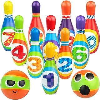 yoptote Bolos Infantiles Sets de Bolos Juguete Bowling Juegos Bowling Juegos Party Exterior Jardin 10 Pins Juego de Bolos ...