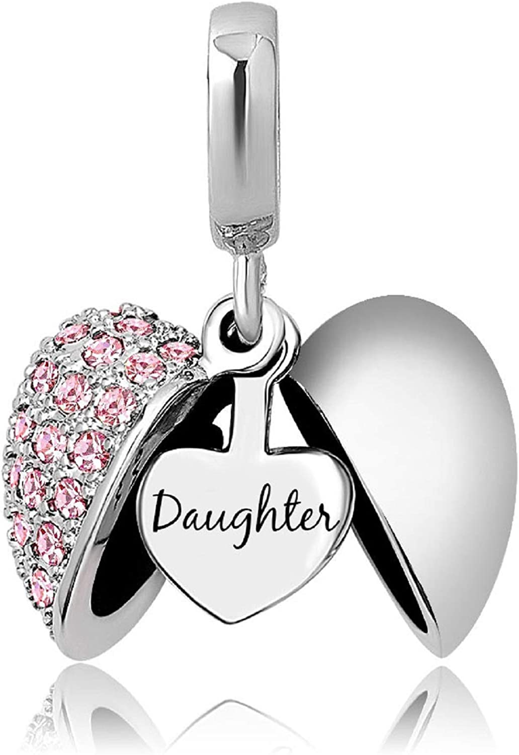 KunBead Daughter Heart I Love You Birthstone Dangle Charms for Bracelets Necklace Birthday Gift for Women Girls