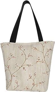 Lesif Felicia Einkaufstaschen, grauer Sternenbeeren-Wandtapete, Segeltuch, Schultertasche, Einkaufstasche, wiederverwendbar, faltbar, Reisetasche, groß und langlebig, robuste Einkaufstaschen