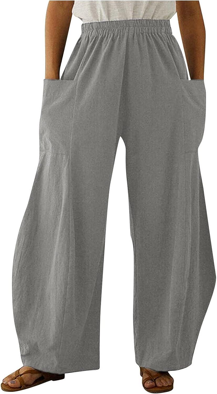 LINGERY Fashion Women Loose Solid Cotton Linen Big Pockets Casual Wide Leg Pants GL-1