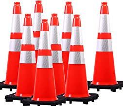 (8 Cones) Orangeplas Orange PVC Safety Traffic Cone,Black Base Construction Road Parking Cone structurally Stable Wearproof (28
