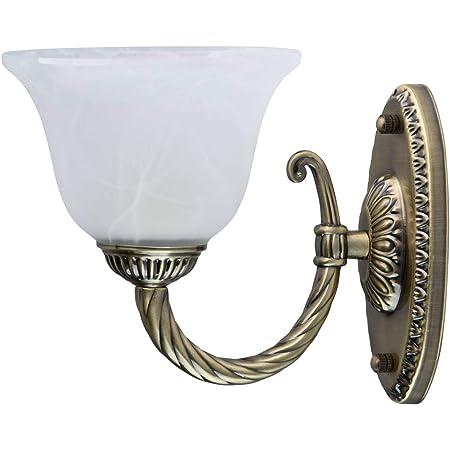 MW-Light 450026101 Applique Murale Design Classique en Métal couleur Bronze Antique Abat-jour en Verre Albâtre pour Salon Couloir 1x60W E27