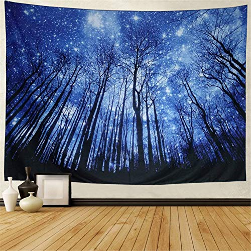 Prabahdak Trees Tapestry Wall Hanging Psychedelic Starry Night Forest Tapestry Fantastic Galaxy Landscape Tapestry Hippie Bohemian Wall Tapestry for Dorm Living Room Bedroom (X-Large, 4#Blue Forest)