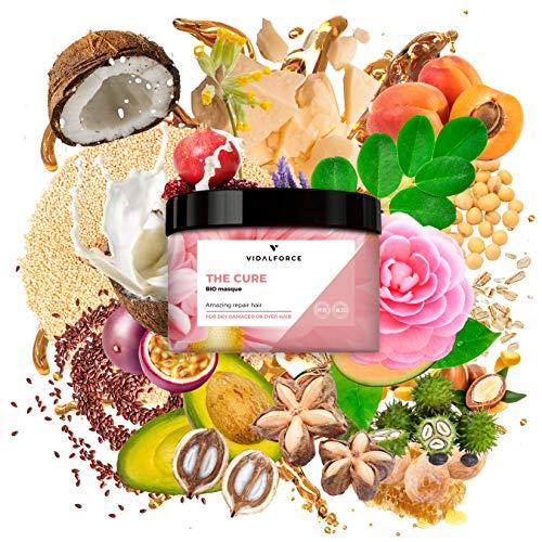 THECUREMasque, Mascarilla pelo seco y dañado con 26 potentes activos naturales incluido aceite de coco organico, aceite de Argan para el pelo - Mascarilla hidratante cabello - 100% Toxic-Free