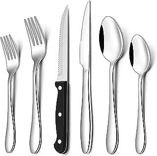AIKKIL Set de Couverts 48 pièces, Service pour 8, Couverts en Acier Inoxydable, Cuillère, Fourchette, Couteau, Vaisselle P...