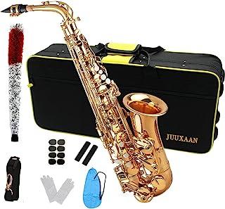 ساکسیفون مبتدی JUUXAAN Alto Saxophone Eb شامل دستمال چمدان قلم مو ، سوت قطعه چوب پنبه ، گچ ، پارچه ، بند گردن پارچه و سایر لوازم جانبی… (محبوب)
