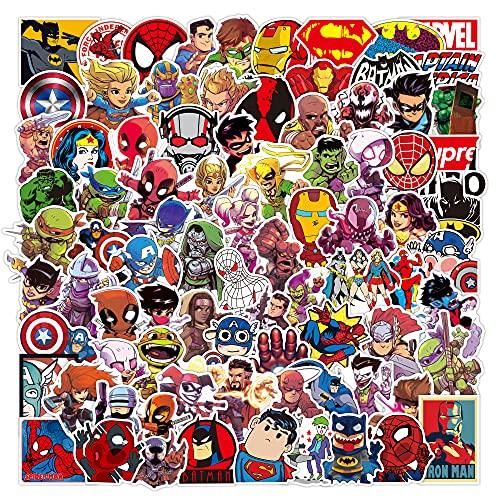 Juego de 100 Pegatinas de Superhéroes Marvel Vinilos para niños,Pegatinas de Coche para Snowboard, Laptop,teléfono...