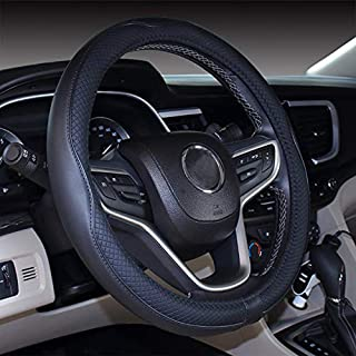 2019 New Black Microfiber Leather Steering Wheel Cover for F-150 Tundra Range Rover 15.5