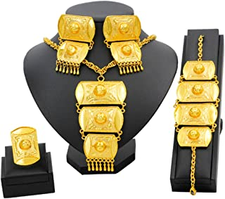 Gold Jewelry Set Dubai African Jewelry Sets for Women 24 K Hollow Golden Luxury Necklace Earrings Bracelet Ring Set for Lady Wife Mother
