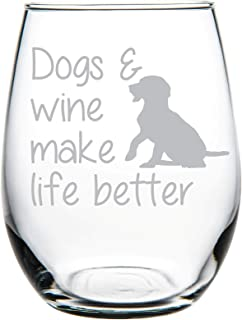 C M Dogs & wine make life better stemless wine glass-Perfect Dog Lover Gift