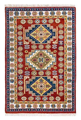 Luxor Living Klassischer Orientteppich aus 100% Wolle in rot - Fußbodenheizung geeignet, Größe:70 x 140 cm, Farbe:Rot-Bunt