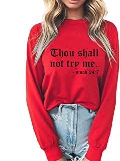 NANTE Top Loose Women's Blouse Thou Shall Not Try Me Print T-Shirt Long Sleeve Tops Pullover Sweatshirt Womens Clothes Ladies Clothing