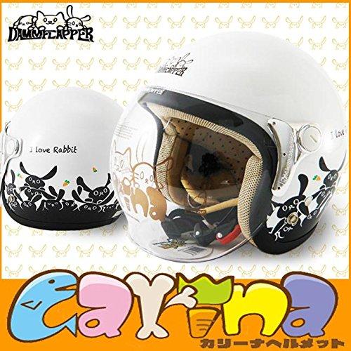 レディース ジェット ヘルメット ダムフラッパー カリーナ (DAMMFLAPPER CARINA) 女性 小さいサイズ 原付ヘルメット ホワイト,ラビット