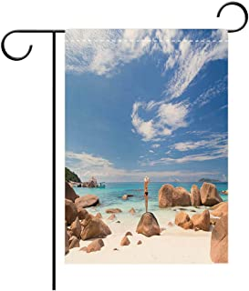 BEICICI Garden Flag Double Sided Decorative Flags Woman Enjoying ANSE Lazio Picture Perfect Beach on Praslin Island Best for Party Yard and Home Outdoor Decor
